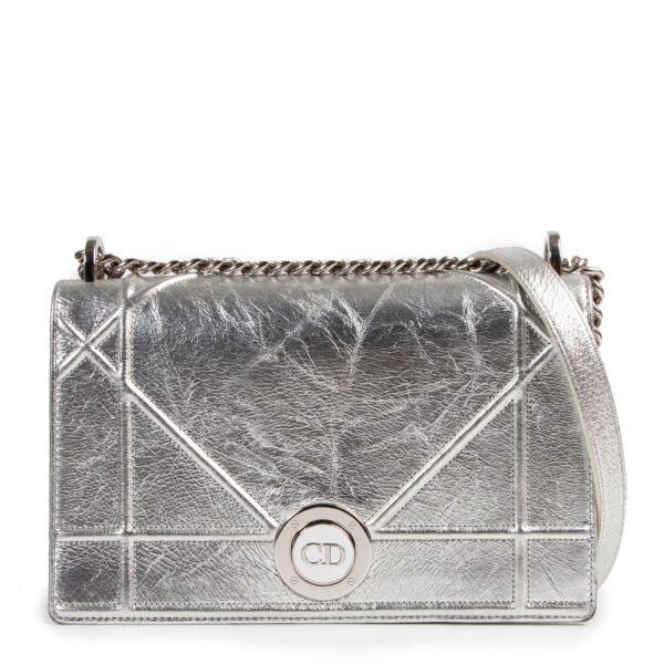 Christian Dior Metallic Silver Lambskin Diorama Flap Bag