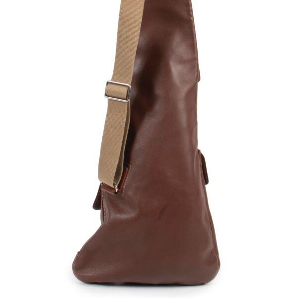 Deux de Delvaux Brown Leather Cross Body Bag