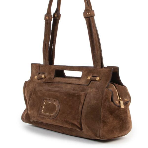 Delvaux Brown Nubuck Benjamin Shoulder Bag