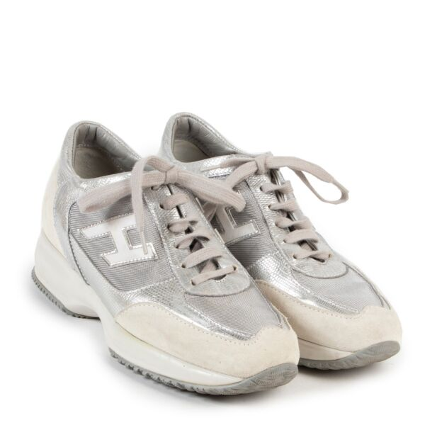 Hogan White Silver Tone Leather Interactive 3D Sneakers - Size 37