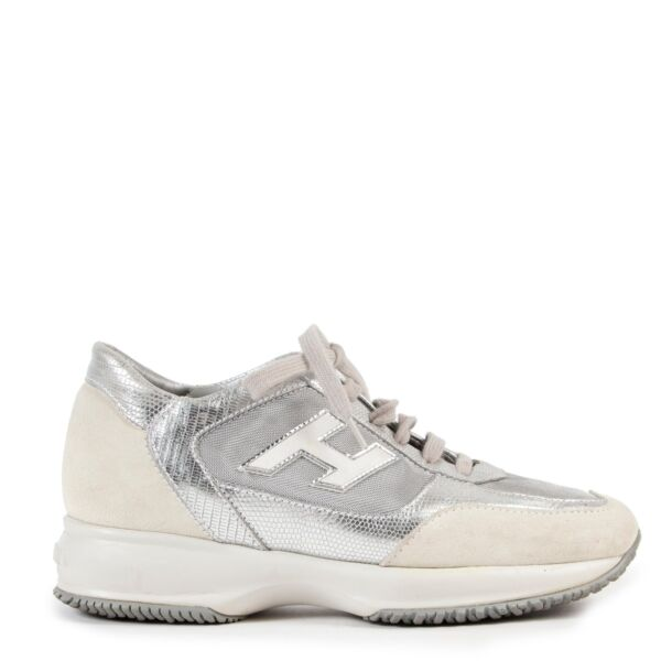 Hogan White Silver Tone Leather Interactive 3D Sneakers in Size 37 in very good condition on Labellov site