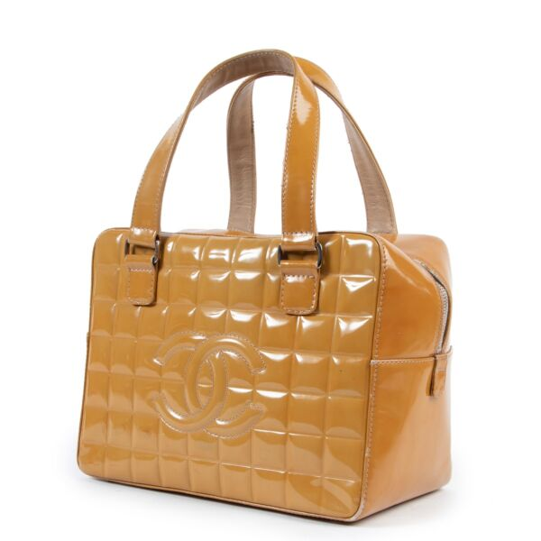 Chanel Mustard Pantent Leather Top Handle Bag