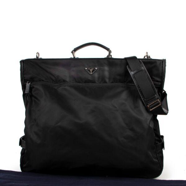 Prada Black Nylon and Saffiano Leather Garment Bag