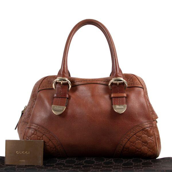 Gucci Brown Leather Monogram Shoulder bag