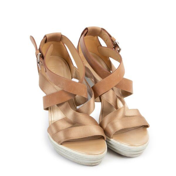 Hogan Beige Shiny Leather Heels - Size 37