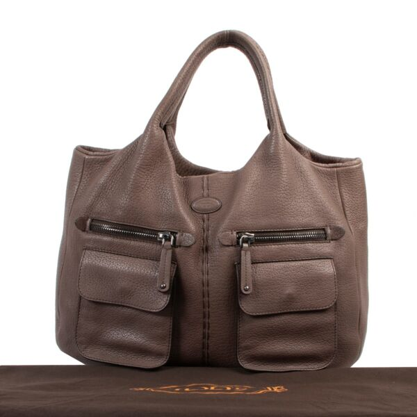 Tod's Brown Grained Leather Shoulder bag