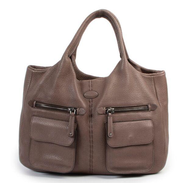 Tods Brown Grained Leather Shoulder bag