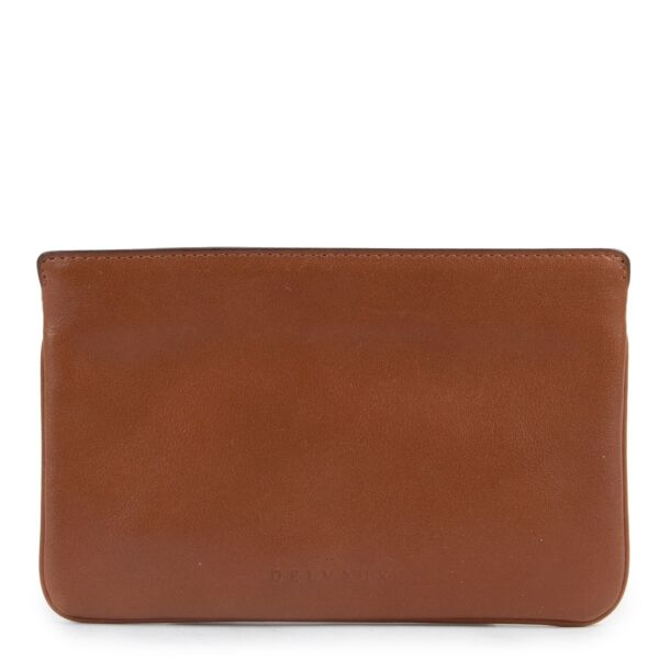 Original Delvaux Brown Calfskin Leather Wallet in good condition now for sale on Labellov vintage site with 2nd hand designer goods