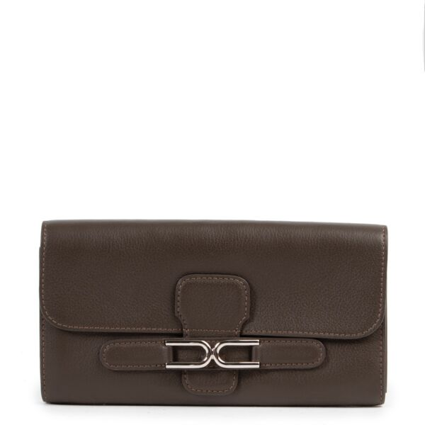 Delvaux Olive Brown Escudo Wallet