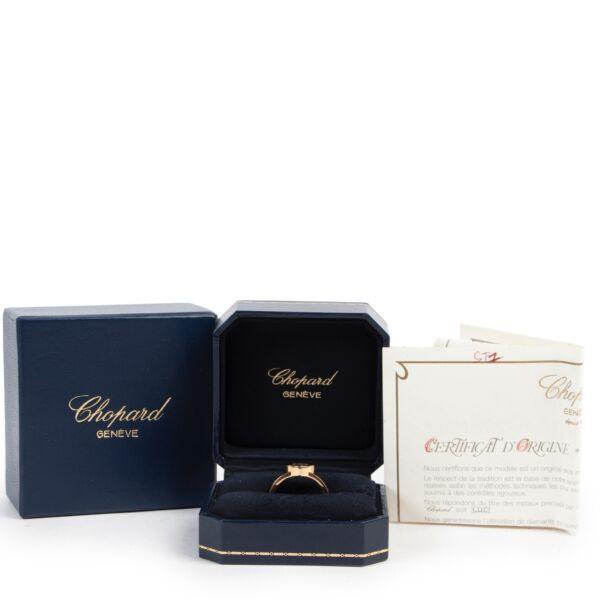 Chopard 18k Yellow Gold Happy Diamond 0,05 Ring - Size 56