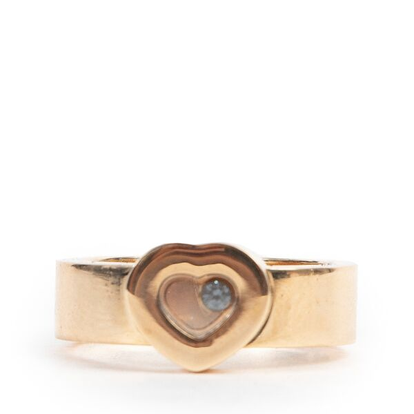 Shop safe online 100% authentic second hand Chopard 18k Yellow Gold Happy Diamond 0,05 Ring - Size 56 in very good condition at the right price at Labellov in Antwerp.