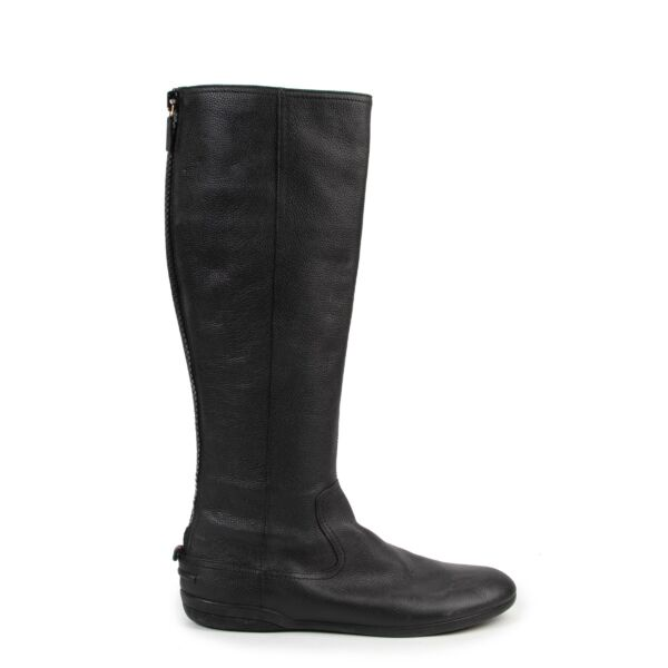 shop safe online Gucci Black Flat Leather Boots - size 40