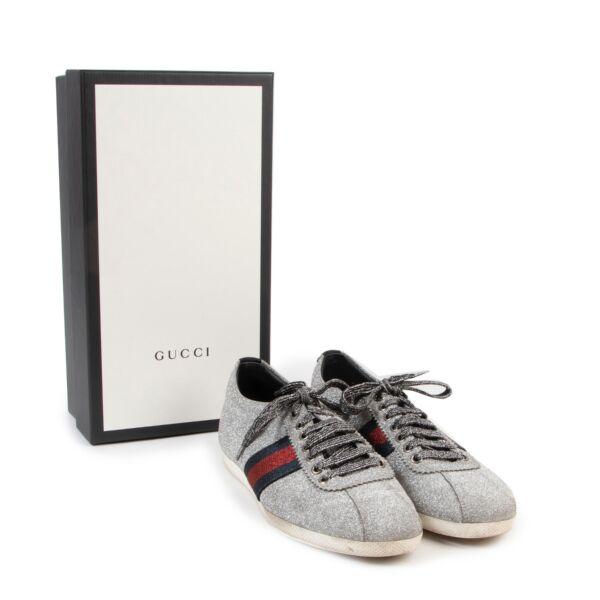Gucci Glitter Web Stud Sneakers - size 39