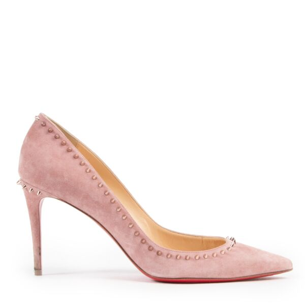 Shop online authentic Christian Louboutin Pink Suede Studded Anjalina Pumps in Size 40 in very good condition.