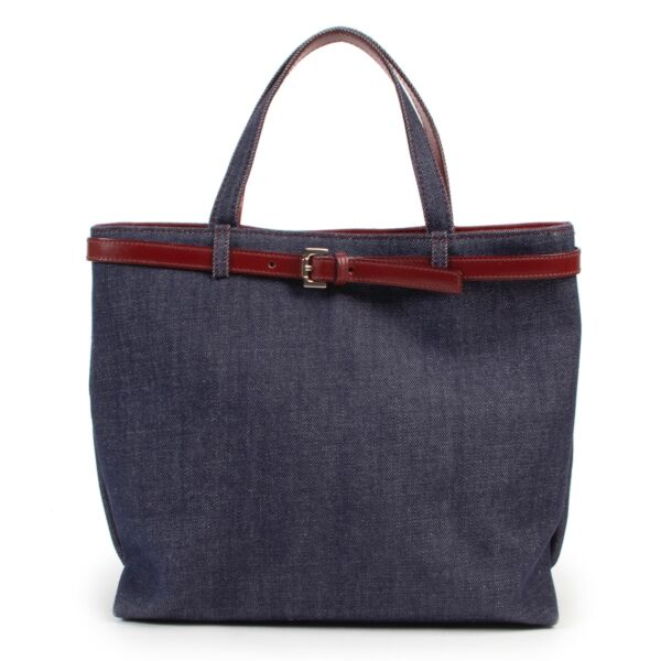 Shop safe online second hand Burberry Blue Denim Top Handle Bag at the right price.