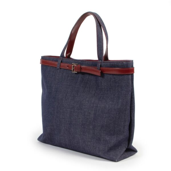 Burberry Blue Denim Top Handle Bag