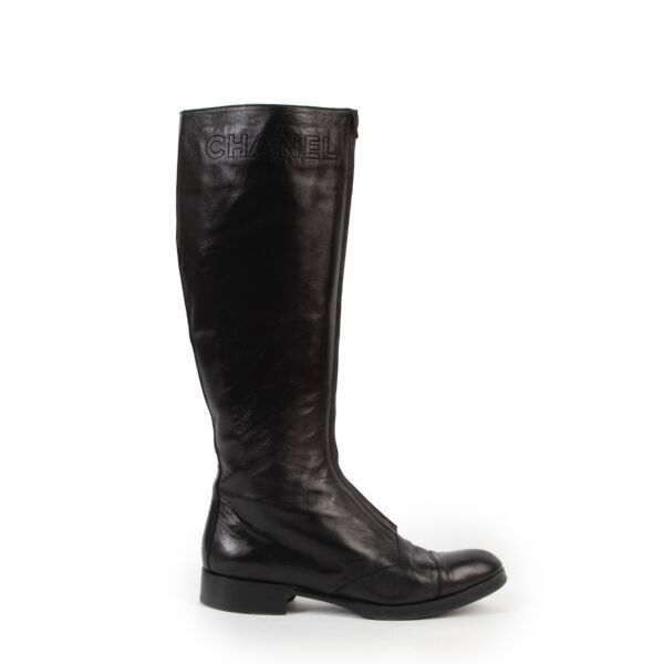 Shop safe online authentic Chanel Black Lambskin Leather Boots in size 38.5.