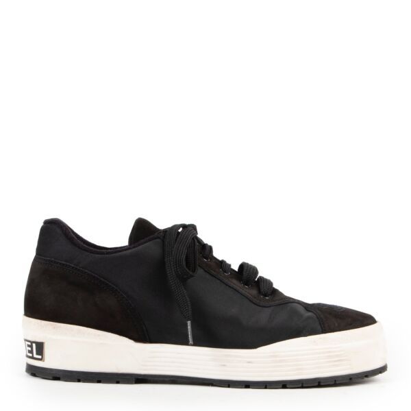 Shop safe online authentic Chanel Black Nylon Sneakers in Size 39.