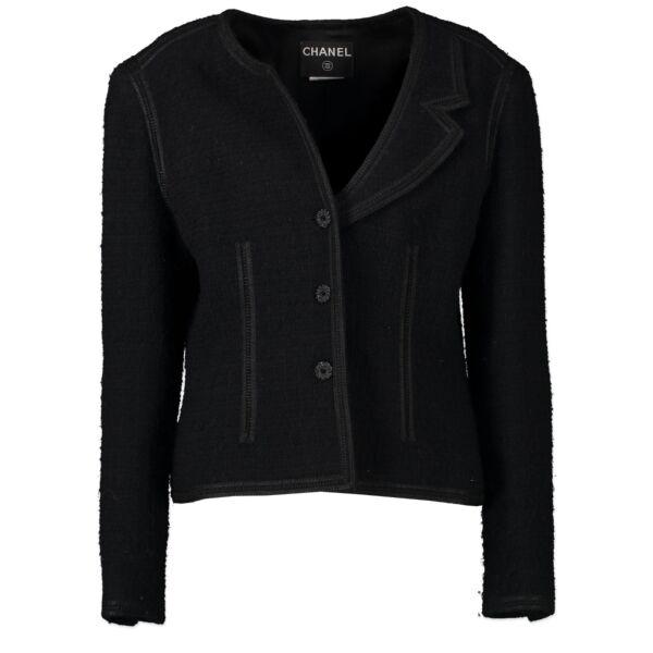 Shop safe online authentic Chanel Black Tweed Jacket - Size 42.
