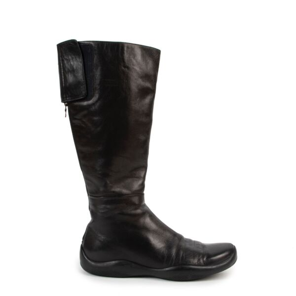 Shop safe online authentic Prada Black Boots in Size 38 at Labellov.com.