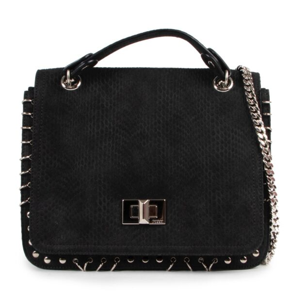 Shop safe online authentic Pucci Black Python Embossed Leather Marquise Crossbody Bag.