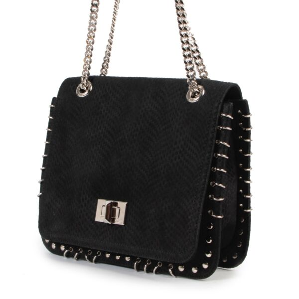 Pucci Black Python Embossed Leather Marquise Crossbody Bag