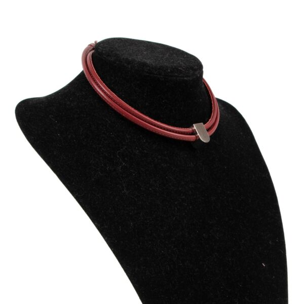 Delvaux Red Leather D Necklace
