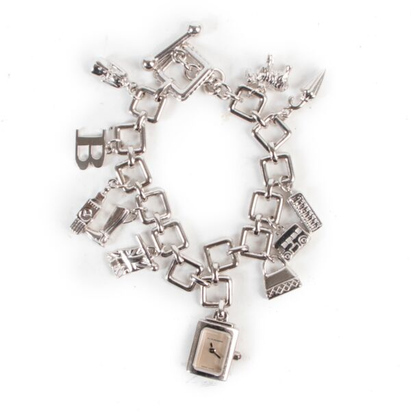 Shop safe online authentic Burberry Silver Charm Bracelet Watch.