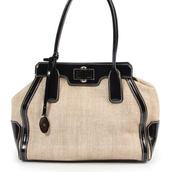 Shop safe online authentic Tods Beige Canvas Top Handle bag at Labellov.com.