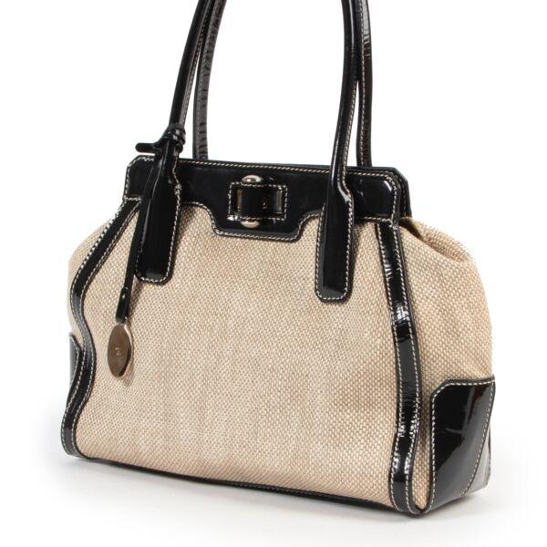 Tods Beige Canvas Top Handle Bag