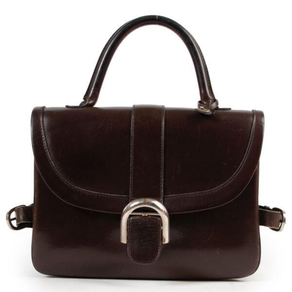 Shop safe online authentic second Hand Delvaux Brown Brillant Top Handle Bag.