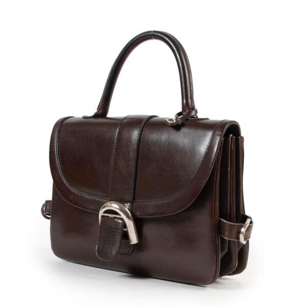 Delvaux Brown Brillant Top Handle Bag