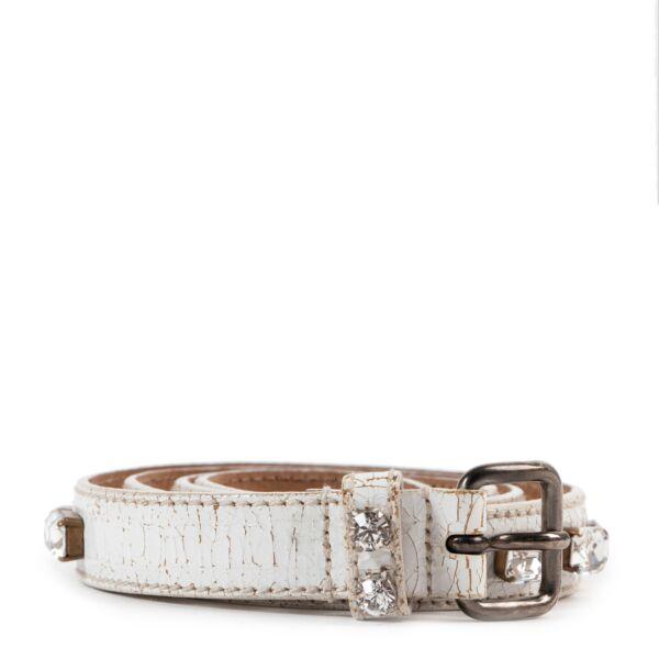 Miu Miu White Stone Embellished Belt