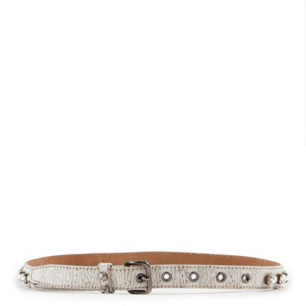 Miu Miu White Stone Embellished Belt - Size 85