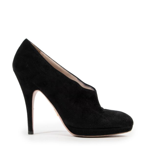 Prada Black Suede Booties - size 38 for the best price at Labellov