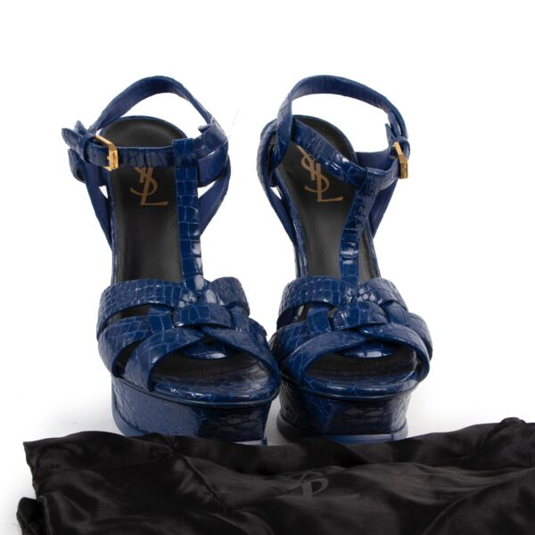 Saint Laurent Blue Croco Embossed Tribute Sandals - Size 38,5