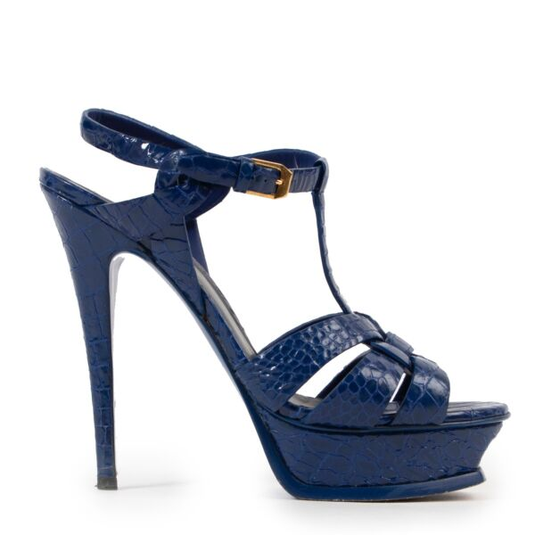 Shop safe online authentic second hand Saint Laurent Blue Croco Embossed Sandals in Size 38,5.