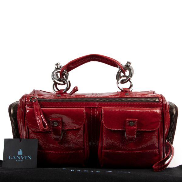 Lanvin Red Patent Boston Bag