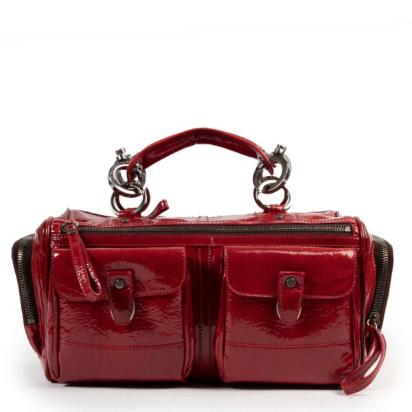 Lanvin Red Patent Boston Bag for the best price at Labellov secondhand luxury