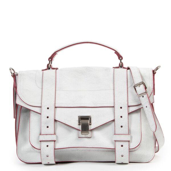 Shop safe online second hand Proenza Schouler White Crackle Medium PS1 Shoulder Bag.
