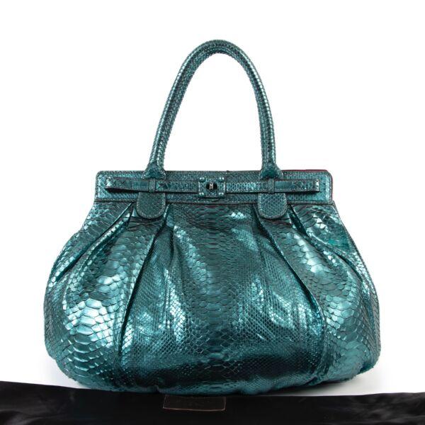 Zagliani Metallique TurquoisePuffy Python Hobo Bag