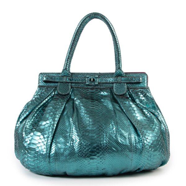 Metallique Turquoise online tegen de bete prijs Zagliana Metallique TurquoisePuffy Python Hobo Bag