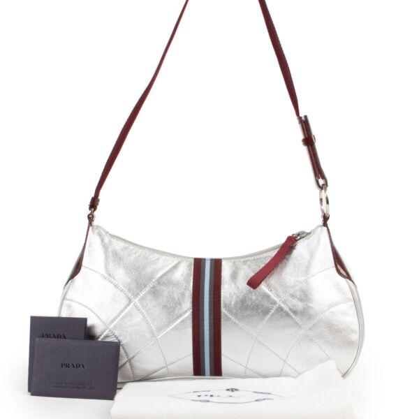 Prada Silver Nappa Matelasse Shoulder Bag