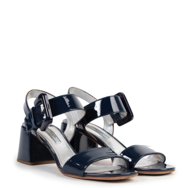 Prada Blue Patent Leather Sandals - Size 37