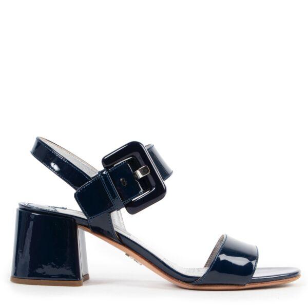 Shop safe online authentic second hand Prada Blue Patent Leather Sandals - Size 37.