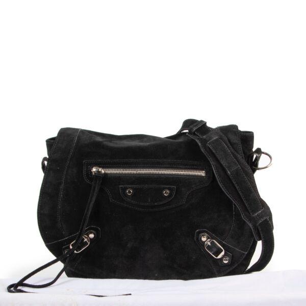 Balenciaga Black Suede Neo Folk Crossbody Bag