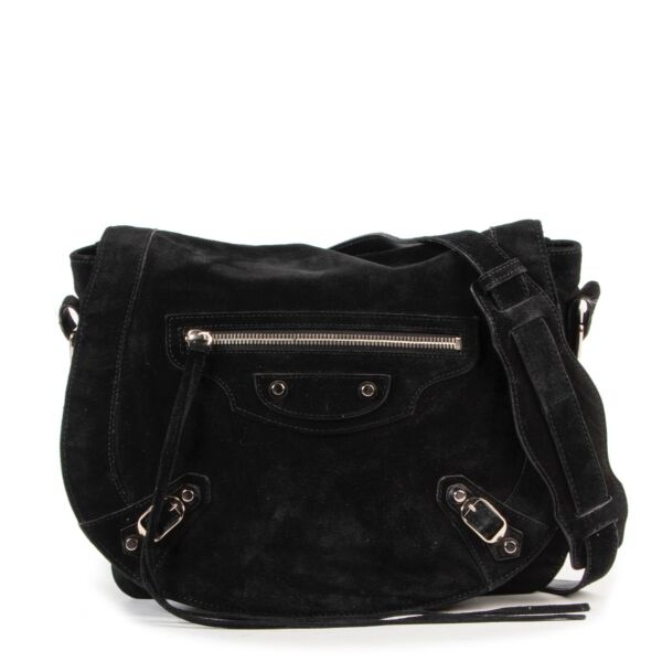 Balenciaga Black Suede Neo Folk Crossbody Bag