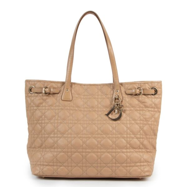 Shop safe online authentic Christian Dior Cream Leather Lady Dior Shopper Bag.