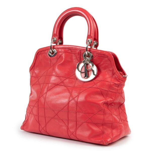 Christian Dior Dark Pink Cannage Quilted Lambskin Shoulder Bag