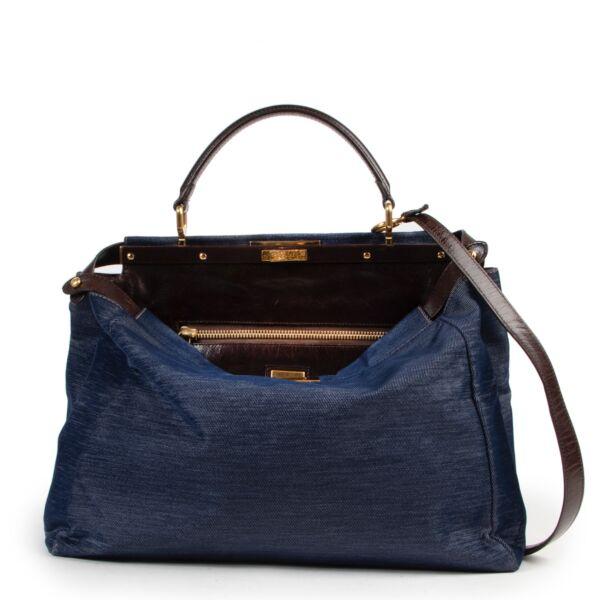 Shop safe online at Labellov for the best price. shop safe online your secondhand Fendi Blue Denim Peekaboo Top Handle Bag